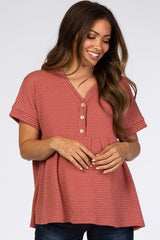 Rust Open Knit Button Front Babydoll Maternity Top