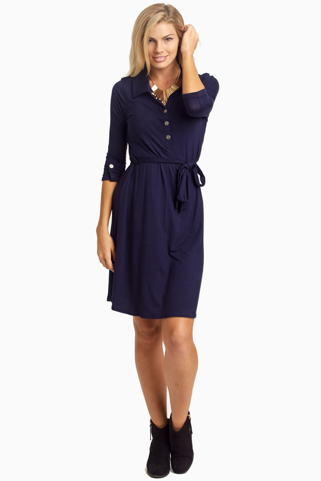 Navy Blue Button Sash Maternity Dress