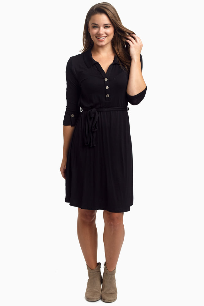 Black Button Sash Maternity Dress