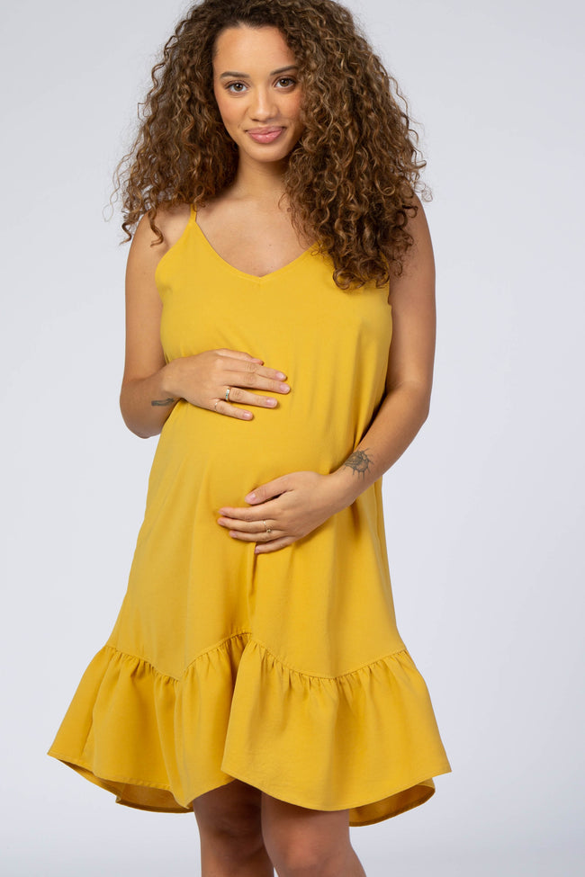 Mustard Sleeveless Ruffle Hem Maternity Dress