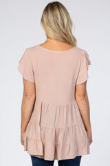 Taupe Maternity Ruffle Sleeve Tiered Maternity Top