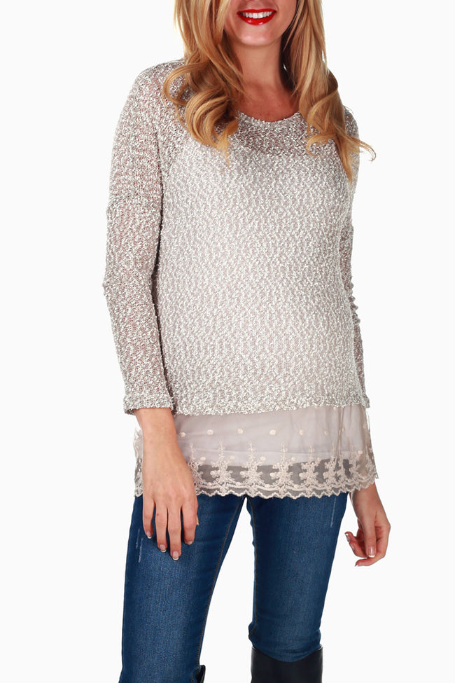 Beige Knit Sheer Accent Maternity Sweater