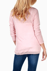 Pink Lace Front Maternity Top