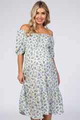 White Floral Scoop Neck Bubble Sleeve Maternity Midi Dress
