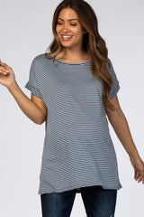 Blue Striped Short Sleeve Maternity Top