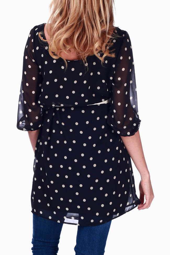 Black Polka Dot Chiffon Belted Maternity Blouse
