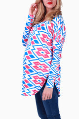 Blue Pink Printed Long Sleeve Maternity Top