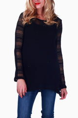 Black Knit Crochet Accent Maternity Top
