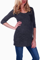 Charcoal Crochet Pocket Maternity Top