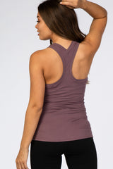 Mauve Solid Active Racerback Maternity Tank Top