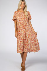 Rust Floral Short Sleeve Pleated Tier Maternity Midi Dress