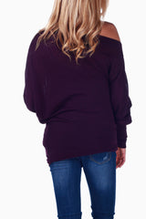Purple Off Shoulder Long Sleeve Maternity Shirt
