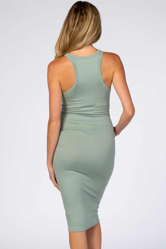 Light Olive Ribbed Racerback Fitted Maternity Midi Dress