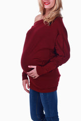 Burgundy Off Shoulder Long Sleeve Maternity Shirt