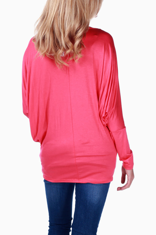 Coral Basic Long Sleeve Maternity Top