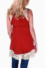 Red Printed Lace Accent Maternity/Nursing Tunic