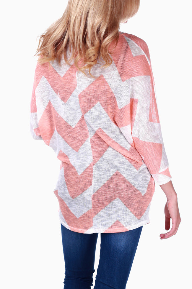 Peach White Knit Chevron Maternity Top