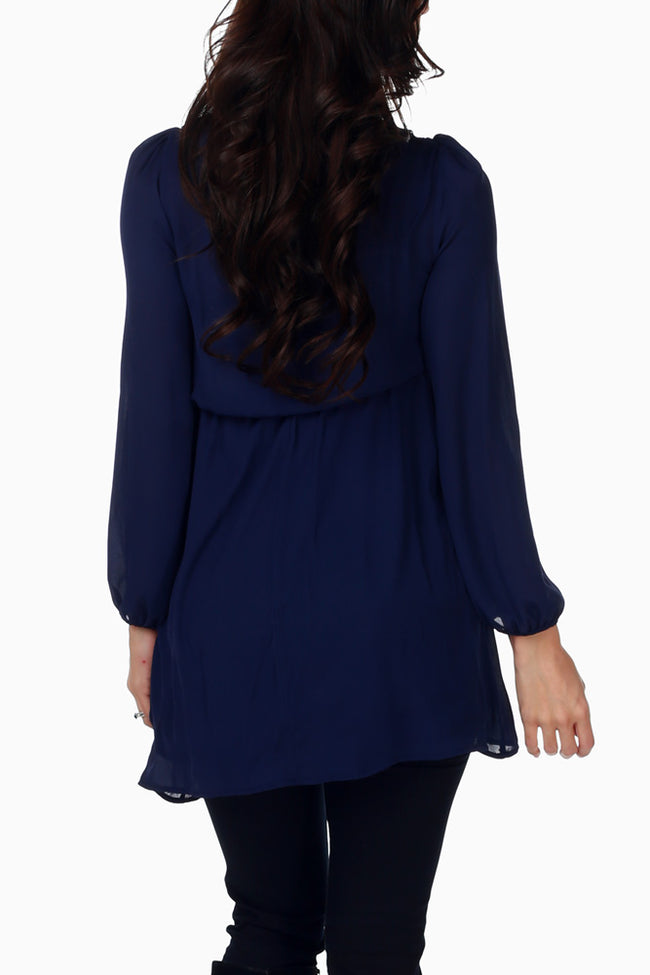 Navy Blue Chiffon Crochet Accent Maternity Blouse