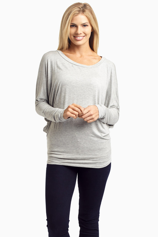 Grey Long Sleeve Maternity Top