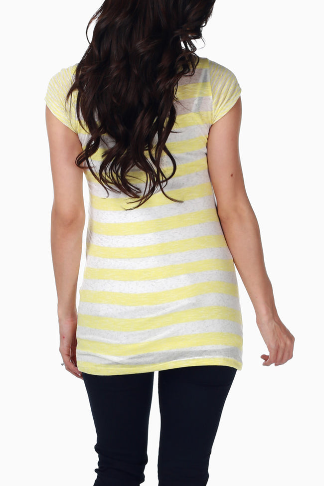 Yellow Beige Striped Maternity Top
