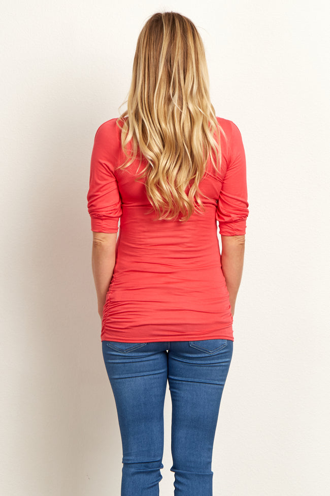 Coral Open Sleeve Maternity Top