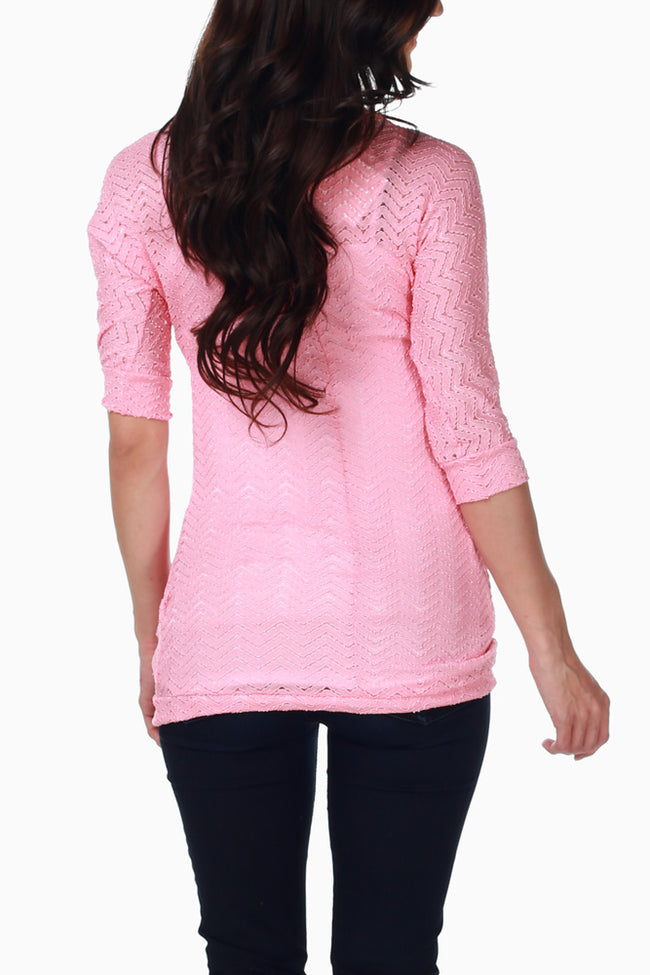 Pink Lace Chevron Maternity Top