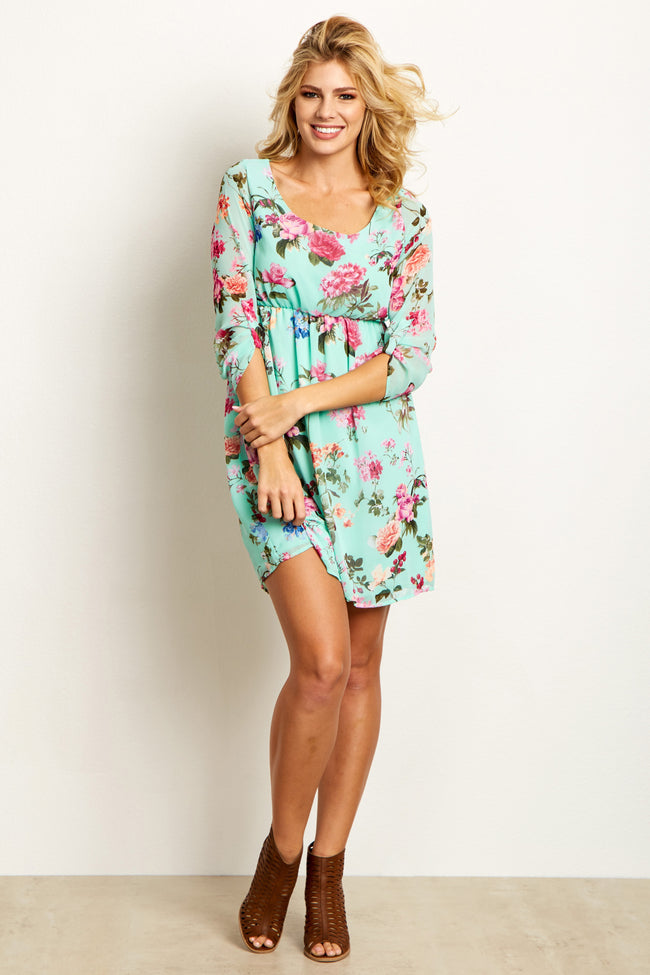 PinkBlush Mint Floral Chiffon Maternity Dress