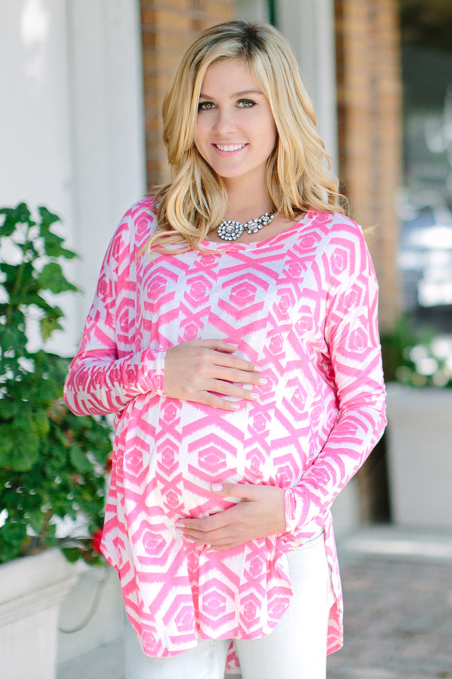 Pink Taupe Tribal Printed Long Sleeve Maternity Top