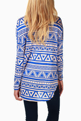 Blue Taupe Printed Long Sleeve Maternity Top