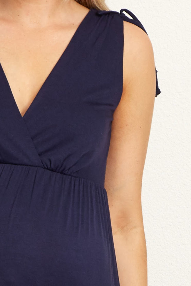 Navy Solid Tiered Maternity/Nursing Wrap Maxi Dress