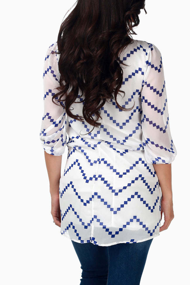 White Blue Chevron Print Chiffon Maternity Tunic