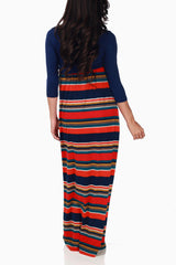 Navy Blue Multi-Colored Striped Maternity Maxi Dress