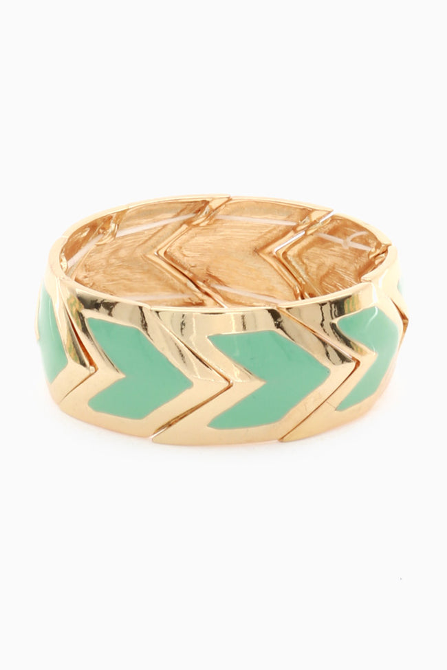 Gold Mint Chevron Bracelet