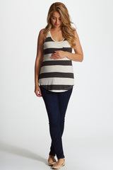 Charcoal White Striped Maternity Racerback Tank