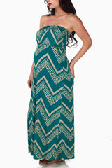 Teal Beige Tribal Print Maternity Maxi Dress