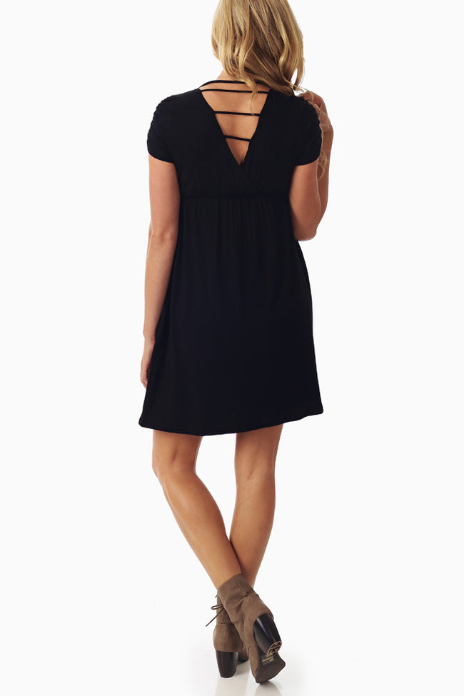 Black Open Back Maternity Dress