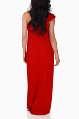 Red Off Shoulder Maternity Maxi Dress