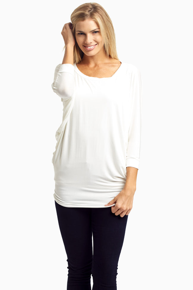 Ivory Dolman Basic Maternity Top