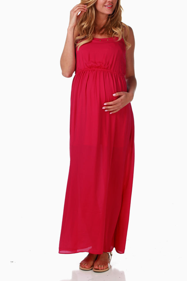 Magenta Studded Neckline Maternity Maxi Dress