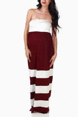 Burgundy White Colorblock Maxi Dress