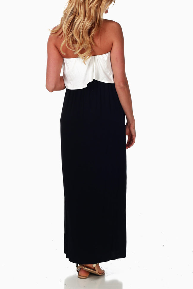 Black White Colorblock Maternity Maxi Dress