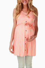 Orange White Striped Maternity Tank Top