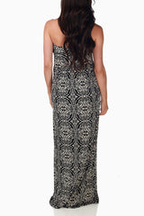 Black White Printed Maternity Maxi Dress