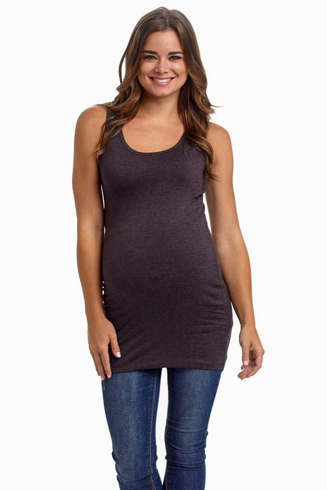 Charcoal Grey Basic Maternity Tank Top