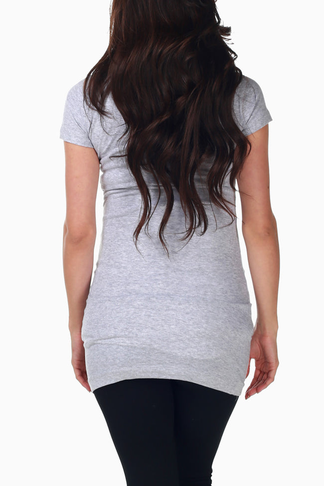 Light Grey Basic Maternity Tee
