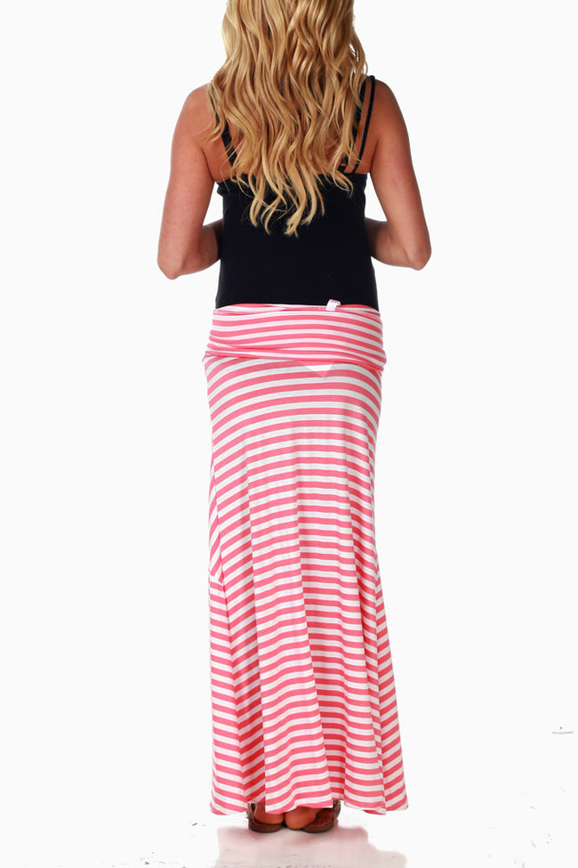 Coral White Striped Maternity Maxi Skirt