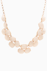 Pastel Pink Gold Jewel Necklace/Earring Set