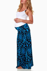Blue Navy Print Maternity Maxi Skirt