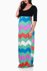 Multi-Color Printed Maternity Maxi Dress