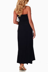 Black Fringe Accent Maternity Maxi Dress